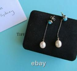 100% Genuine vintage Tiffany & Co turquoise and pearl earrings sterling silver