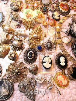 112 Pc Vintage/Modern Romantic CAMEO Pendants Sterling Silver Rings Earrings+++