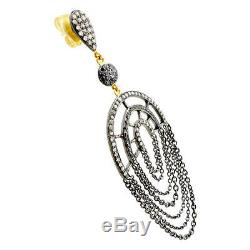14K Gold Diamond Dangle Earrings Sterling Silver Vintage Inspired Fine Jewelry
