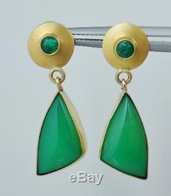 14K Sterling Green Emerald & Chalcedony Modernist Dangle Earrings Vintage