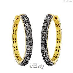 14k Gold 3.96ct Diamond Pave Hoop Earrings Sterling Silver Vintage Style Jewelry