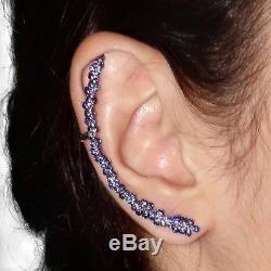 14k Gold Blue Sapphire Ear Cuff Vintage Look Earrings Jewelry Sterling Silver OY