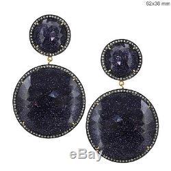 14k Gold Pave Diamond Gemstone Dangle Earrings Vintage Sterling SilverJewelry
