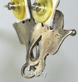 1980's Vintage Bali Sterling Silver Amethyst Snake Earrings