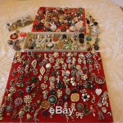 250 Plus Huge Lot Single Vintage Rhinestone Earringssterlingcameo+