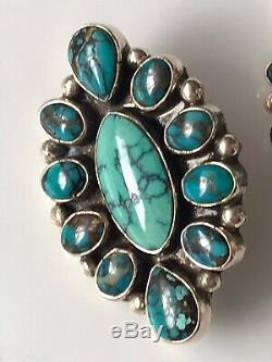 25g Vtg DM LEE Navajo Teardrops Tear Drops Turquoise Sterling 925 Earrings 1.75