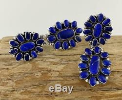 2.75 Vintage FEDERICO JIMENEZ Sterling Silver DEEP BLUE LAPIS Cluster Earrings