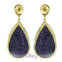 37.2ct Sunstar Gemstone Dangle Earrings Sterling Silver Vintage 14k Gold Jewelry