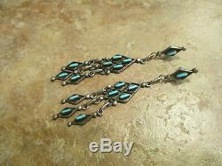 3.5 SPLENDID Vintage Zuni Sterling Needle Point Turquoise CHANDELIER Earrings