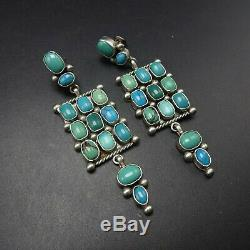 3 Long FINEST Vintage NAVAJO Sterling Silver TURQUOISE Cluster Dangle EARRINGS