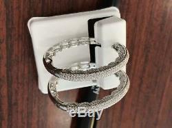 4ct Cubic zirconia Vintage Hoops Earrings 14k W Gold Sterling Silver Large Size