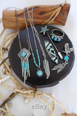 8x VINTAGE RESELL LOT NAVAJO ZUNI STERLING SILVER RING PENDANT NECKLACE RING