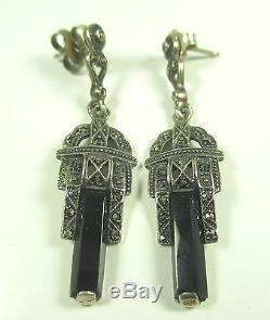 925 Sterling Silber Ohrringe Markasit Onyx Vintage 30er Boheme earrings h32 N4