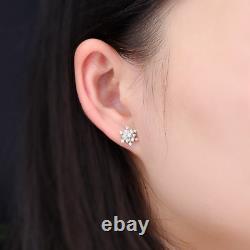 925 Sterling Silver 0.30ct Round Diamond Flower Stud Vintage Art Deco Earrings