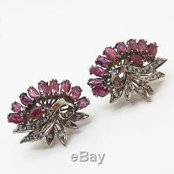 925 Sterling Silver / 14K Vintage Real Diamond & Ruby Gem Wing Design Earrings