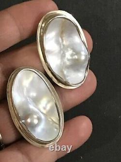 925 Sterling Silver 14K gold Vintage Blister Pearl Artist Signature Earrings