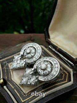 925 Sterling Silver Antique & Vintage Wedding Art Deco Earrings 2.11 Ct Diamond