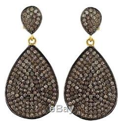 925 Sterling Silver Earrings 14K Gold Diamond Pave Vintage Inspired Jewelry