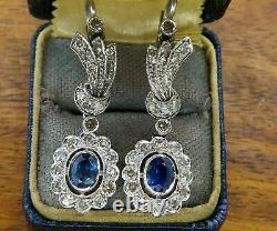 925 Sterling Silver Elongated Vintage Art Deco Earring 3.24Ct Sapphire & Diamond