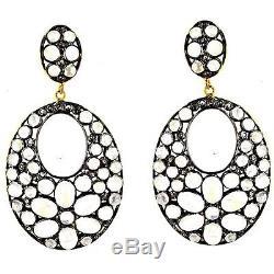 925 Sterling Silver Moonstone Dangle Earrings Pave Diamond Vintage Jewelry