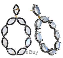 925 Sterling Silver Moonstone Diamond Earrings 14k Gold Vintage Inspired Jewelry