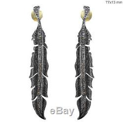 925 Sterling Silver Pave 1ct Diamond LEAF Dangle Earrings 14k Gold Vintage Style