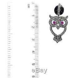 925 Sterling Silver Pave Diamond 14K Gold Vintage Style OWL Earrings Jewelry QC