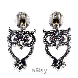 925 Sterling Silver Pave Diamond 14K Gold Vintage Style OWL Earrings Jewelry QY