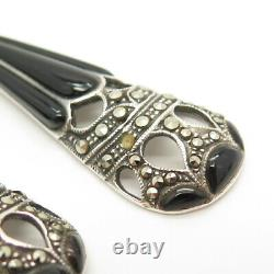 925 Sterling Silver Vintage Black Onyx & Marcasite Gem Art-Deco-Style Earrings