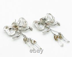 925 Sterling Silver Vintage Crystal Abstract Bow Stud Dangle Earrings E3379