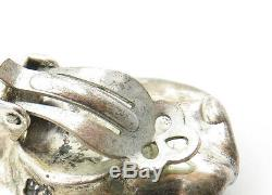 925 Sterling Silver Vintage Eilat Stone Non Pierce Clip On Earrings E6890