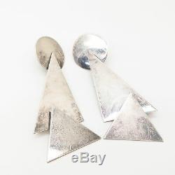 925 Sterling Silver Vintage Geometric Shapes Design Statement Long Earrings
