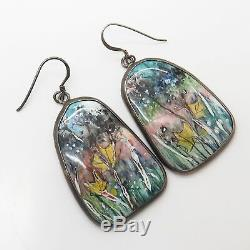 925 Sterling Silver Vintage Hand Painted Ceramic Meadow Floral Design Earrings