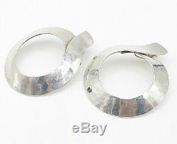 925 Sterling Silver Vintage Large Hammered Modernist Hoop Earrings E4635