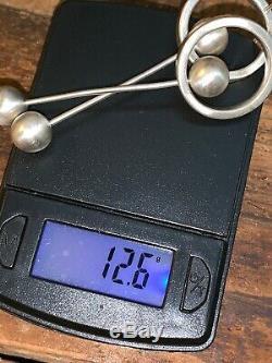 925 Sterling Silver Vintage Large Modernist Designed Dangle Earrings