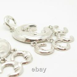925 Sterling Silver Vintage Mexico Crescent Moon Face Hollow Dangling Earrings