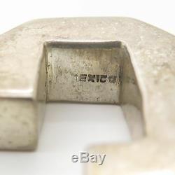 925 Sterling Silver Vintage Mexico Large Heavy Hollow Modernist Hoop Earrings