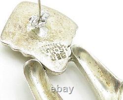 925 Sterling Silver Vintage Shiny Modernist Designed Drop Earrings E5849