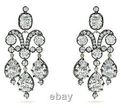 925 Sterling Silver Vintage Style Dangle Earrings CZ White Round Pear Party Wear