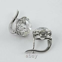 925 sterling silver Stud earrings round white Solitaire Vintage basket dangle