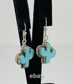 #9425 Vintage Joan Slifka Sterling Silver Dangle Cactus Earrings