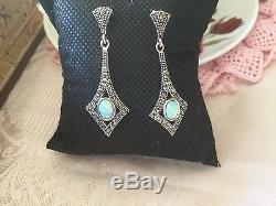 ANTIQUE VINTAGE ART DECO OPAL and MARCASITE STERLING SILVER EARRINGS EAR RINGS