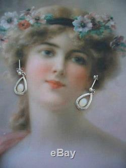 ANTIQUE VINTAGE STERLING SILVER OPAL EARRINGS EAR RINGS with OPALS
