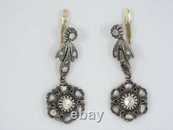 ANTIQUE c. 1870 VICTORIAN SOLID 15K GOLD & STERLING DIAMOND DANGLE DROP EARRINGS