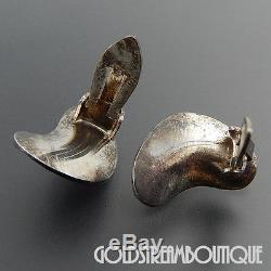 ANTON MICHELSEN DENMARK VINTAGE 925 STERLING SILVER BOOMERANG CLIP EARRINGS