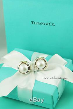AUTHENTIC Tiffany & Co. RARE Vintage Sterling 18K Gold Mabe Pearl Earrings #929