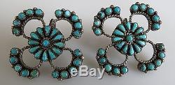 Advanced collector Zuni vintage sterling silver needle point turquoise earrings