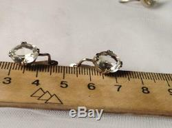 Amazing Rare Vintage Antique Soviet USSR Stud Ear Earrings Sterling Silver 875