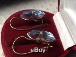 Amazing Vintage Antique Soviet USSR Earrings Big Stone Gilt Sterling Silver 875