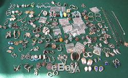 Amazing Vintage Jewelry Sterling Silver. 925 Rings Earrings & Misc 980 g #BL55